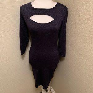 Women's Blue Metallic fitted Dress from Express